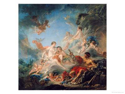The Forge of Vulcan, or Vulcan Presenting Arms for Aeneas to Venus, Tapestry Cartoon, 1757-Francois Boucher-Giclee Print
