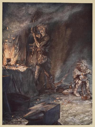 The forging of Nothung, illustration from 'Siegfried and the Twilight of the Gods', 1924-Arthur Rackham-Giclee Print