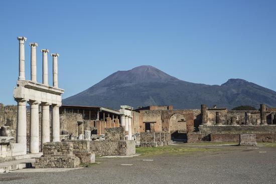 The Forum and Vesuvius Volcano, Pompeii, UNESCO World Heritage Site, Campania, Italy, Europe-Angelo Cavalli-Photographic Print