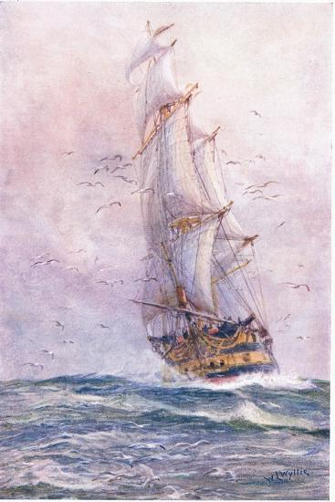 The 'Foudroyant', One of Nelson's Old Ships, 1915-William Lionel Wyllie-Giclee Print