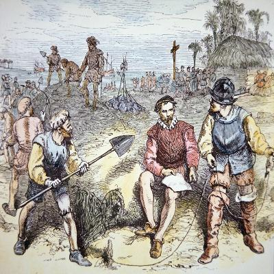The Founding of St. Augustine in Florida by the Spanish in 1565 (Colour Litho)-American-Giclee Print