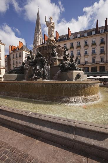 The Fountain in Place Royale in the Centre of Nantes, Loire-Atlantique, France, Europe-Julian Elliott-Photographic Print