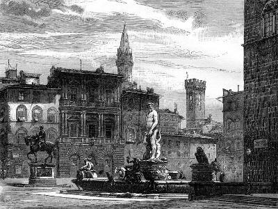 The Fountain of Neptune, Piazza Della Signoria, Florence, Italy, 19th Century--Giclee Print
