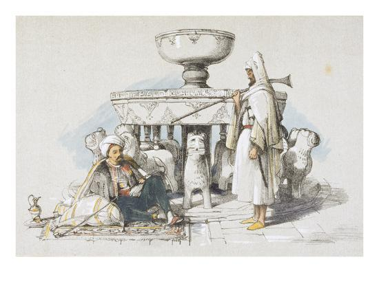 The Fountain of the Lions, Vignette from 'sketches and Drawings of the Alhambra', 1835 (Litho)-John Frederick Lewis-Giclee Print