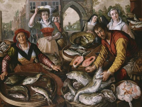 The Four Elements: a Fishmonger's Stall in a Town with the Miraculous Draught of Fishes Beyond -…-Joachim Beuckelaer-Giclee Print