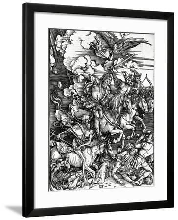 The Four Horsemen of the Apocalypse, 1498 (Woodcut)-Albrecht Dürer-Framed Giclee Print