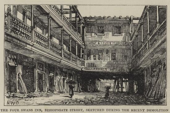 The Four Swans Inn, Bishopsgate Street, Sketched During the Recent Demolition-Henry William Brewer-Giclee Print
