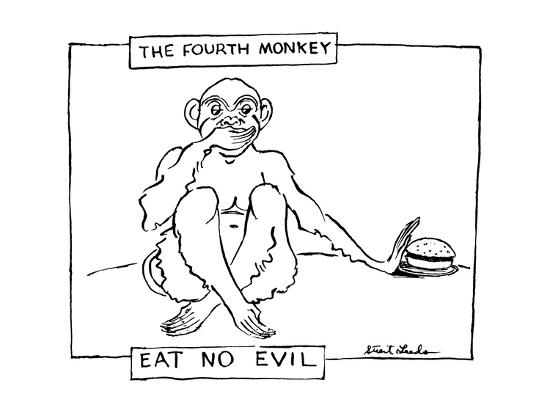 The Fourth Monkey; Eat No Evil - New Yorker Cartoon-Stuart Leeds-Premium Giclee Print