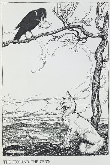 The Fox and the Crow, Illustration from 'Aesop's Fables', Published by Heinemann, 1912-Arthur Rackham-Giclee Print