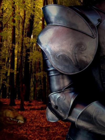 The Fox Hunts the Knight in Armor in the Forest-Abdul Kadir Audah-Photographic Print