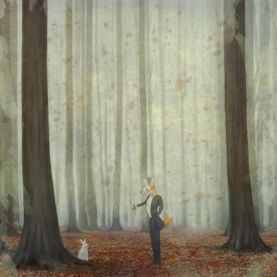 The Fox in a Wood to Hunt on a Hare-natalia_maroz-Art Print