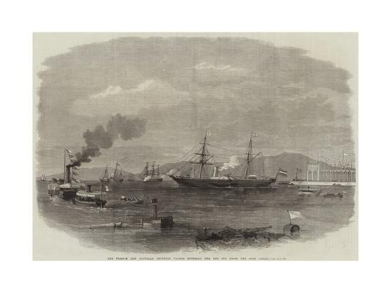 The French and Austrian Imperial Yachts Entering the Red Sea from the Suez Canal--Giclee Print
