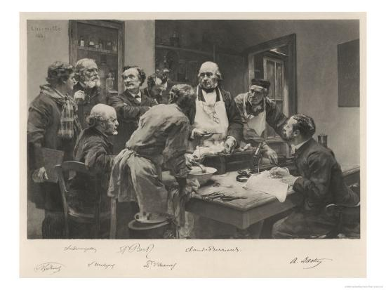 The French Doctor Claude Bernard with a Group of His Colleagues Probably at the College de France- Lhermitte-Giclee Print