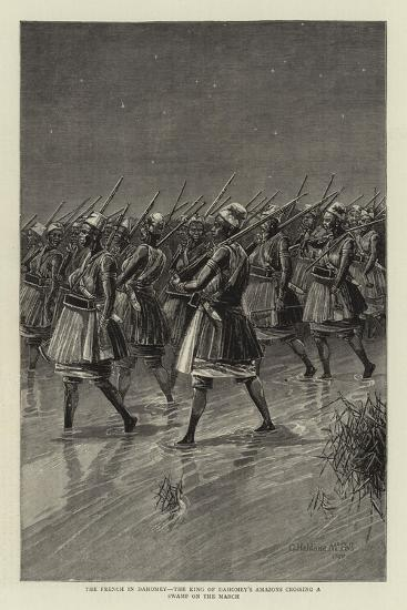 The French in Dahomey, the King of Dahomey's Amazons Crossing a Swamp on the March--Giclee Print