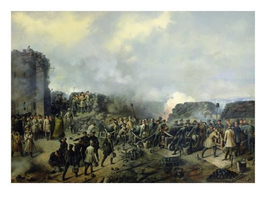 The French-Russian Battle at Malakhov Kurgan in 1855, 1856-Grigory Shukayev-Giclee Print