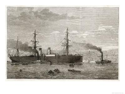 """The French Transatlantic Company's Steamship """"Amerique"""" Towed into Plymouth by Tugs-J.r. Wells-Giclee Print"""