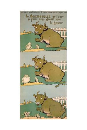 The Frog Who Would Grow as Big as the Ox, from 'Fables'-Benjamin Rabier-Giclee Print