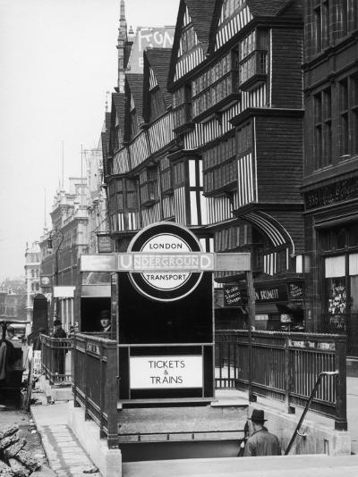 The Front of Staples Inn and the Entrance to Holborn Underground Station Central London--Photographic Print