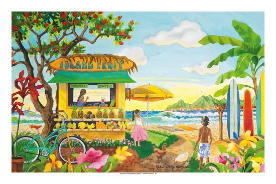 The Fruit Stand at the Beach - Tropical Paradise - Hawaii - Hawaiian Islands-Robin Wethe Altman-Premium Giclee Print