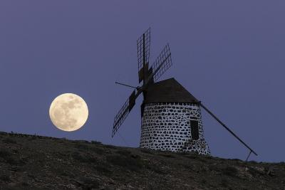 The Full Moon, and Wolf Moon, the First Full Moon after the Winter Solstice, over a Windmill-Babak Tafreshi-Photographic Print
