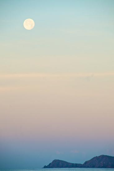 The Full Moon at Moonset over the British Virgin Islands-Heather Perry-Photographic Print