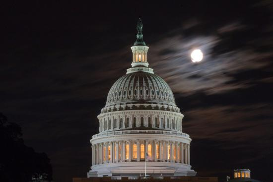 The Full Moon Hangs over the United States Capitol-Vickie Lewis-Photographic Print