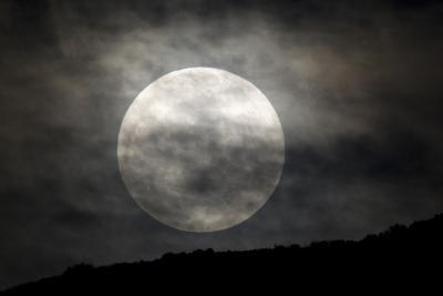 The Full Moon over a Shadowed Landscape-Robbie George-Photographic Print