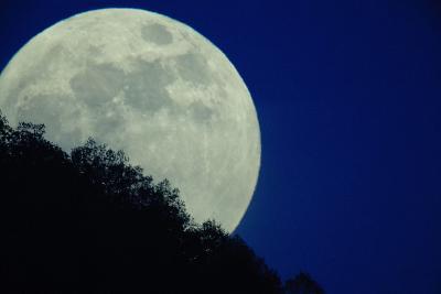 The Full Moon Rises Above Somoskoujfalu, 123 Kms Northeast of Budapest, Hungary-Peter Komka-Photographic Print