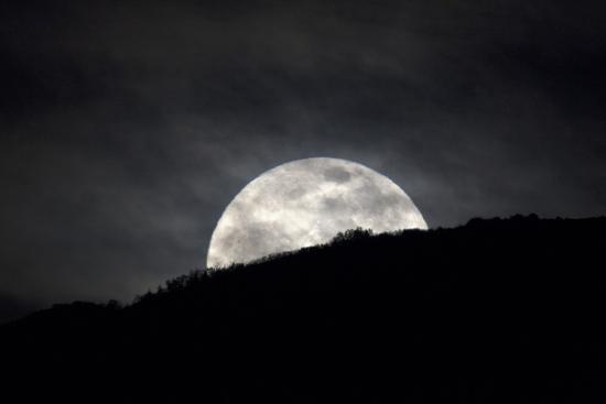 The Full Moon Rising over the Horizon-Robbie George-Photographic Print
