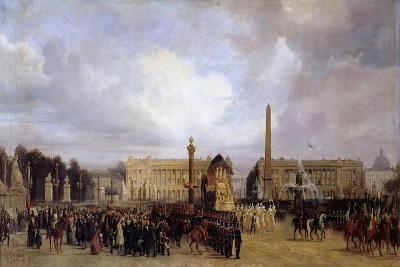 The Funeral Cortege of Napoleon I Passing Through the Place De La Concorde 15 December 1840-Jacques Guiaud-Giclee Print