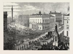 The Funeral of Lord Palmerston: the Procession Passing Along Pall Mall, London, UK, 1865