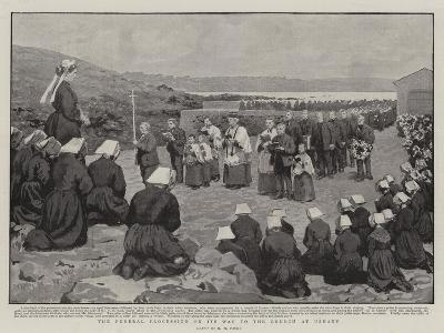 The Funeral Procession on its Way to the Church at Ushant-Henry Marriott Paget-Giclee Print