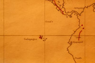 The Galapagos Islands Seen on One of Darwin's Maps-Volker Steger-Photographic Print