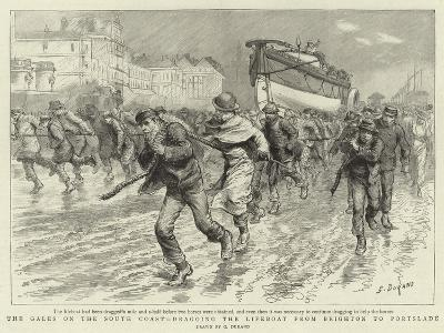 The Gales on the South Coast, Dragging the Lifeboat from Brighton to Portslade-Godefroy Durand-Giclee Print