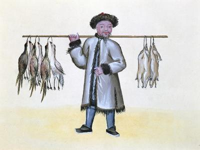 The Game Merchant, from a Book on the Street Calls of Peking, C.1785 (W/C and Gouache on Paper)--Giclee Print