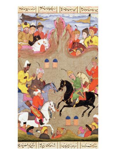 The Game of Polo, Miniature from a Shahnama, circa 1670--Giclee Print