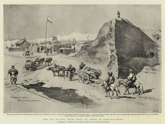 The Gap in the Great Wall of China at Shan-Hai-Kwan-Charles Edwin Fripp-Giclee Print