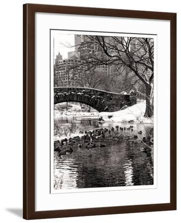 The Gapstow Bridge of Central Park in Winter, Manhattan in New York City-Philippe Hugonnard-Framed Photographic Print
