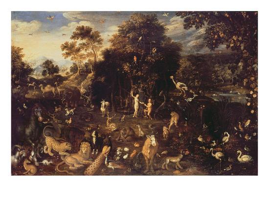 The Garden of Eden with Adam and Eve-Isaak van Oosten-Giclee Print