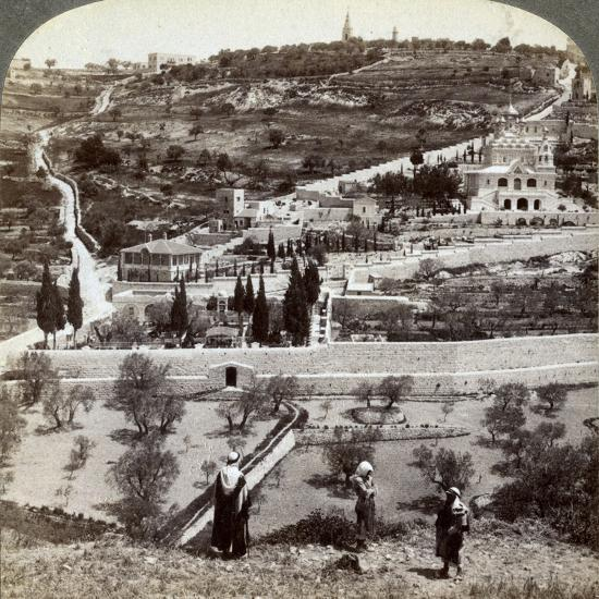 The Garden of Gethsemane and the Mount of Olives, Palestine, 1908-Underwood & Underwood-Photographic Print