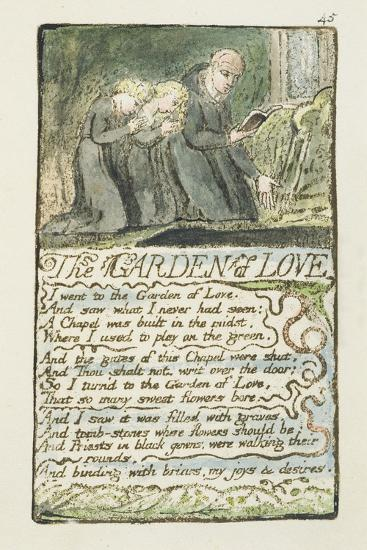 'The Garden of Love', Plate 45 from 'Songs of Innocence and of Experience', 1789-94-William Blake-Giclee Print