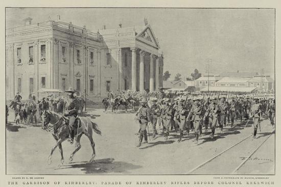 The Garrison of Kimberley, Parade of Kimberley Rifles before Colonel Kekewich-Frederic De Haenen-Giclee Print