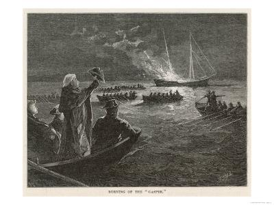 """The """"Gaspee"""" is Burned by Rebels off Rhode Island--Giclee Print"""