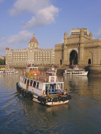 The Gateway to India and the Taj Mahal Hotel, Mumbai (Bombay), India-Charles Bowman-Photographic Print