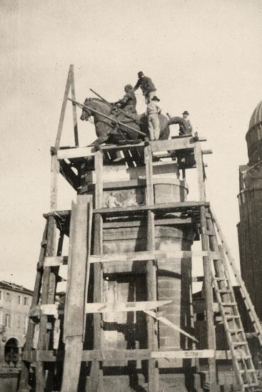 The Gattamelata Equestrian Monument under Restoration in Padova During WWI-Ugo Ojetti-Photographic Print