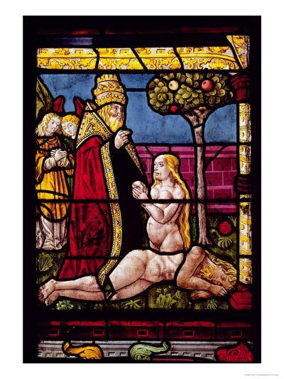 The Genesis Window, Detail of the Creation of Adam and Eve--Giclee Print