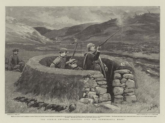 The German Emperor Shooting over the Wemmersgill Moors-Joseph Nash-Giclee Print