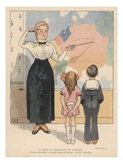 The German Governess Salutes as She Shows Her Pupils Where Germany Is on the Map--Giclee Print