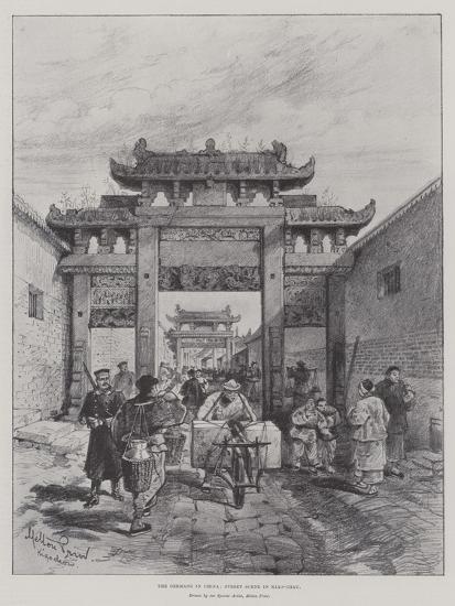 The Germans in China, Street Scene in Kiao-Chau-Melton Prior-Giclee Print
