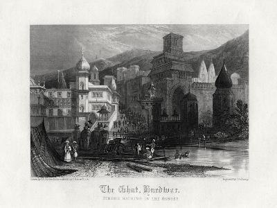The Ghat, Hurdwar, Hindus Bathing in the Ganges, 19th Century-J Redaway-Giclee Print